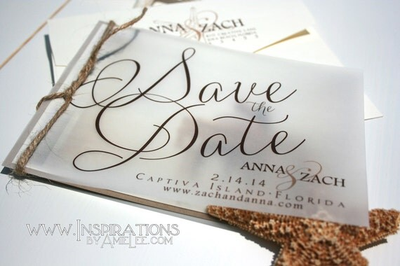 Etsy Beach Wedding Invitations: Items Similar To Rustic Beach Save The Date Invitations On