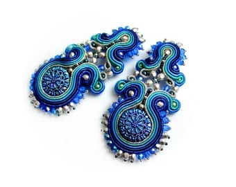 Soutache earrings - elegant, classy and glamorous - Blue Curacao