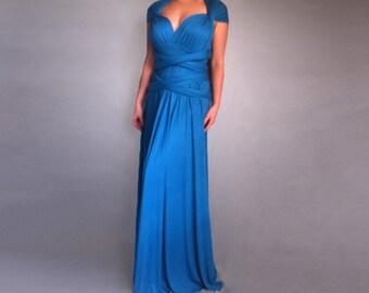Blue Bridesmaid Dress Infinity Convertible Long Dress Multi Way Wedding Dress Plus Size Wrap Gown Oversize Dress Convertible Maxi Dress