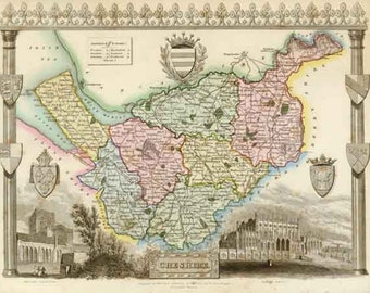 Cheshire 1837. Antique map of the County of Cheshire, England by Thomas Moule - MAP PRINT