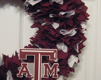 "18"" Texas A&M fabric wreath-Picture displays how your wreath will look with team logo(must be attached by consumer)"
