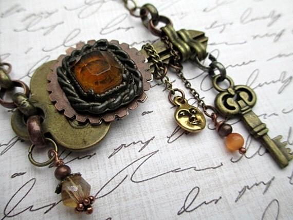 SALE Steampunk Key Necklace Handmade Beaded Jewelry Short Boho Repurposed Mixed Metal