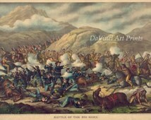 """Images of Americana. """"Custer's Last Stand"""", June 25-26. 1876 - Chromolithograph Reproduction. Fine Art Print"""