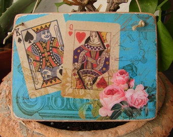 French shabby teal ,king of spades & queen of hearts,wooden tag/dresser/door hanger