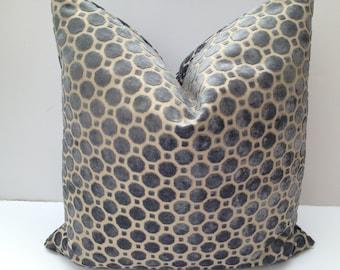 Robert Allen Decorative Pillow Cover-Both Sides-Grey-Velvet Home Decor Fabric-Living Room Pillow-Throw Pillow