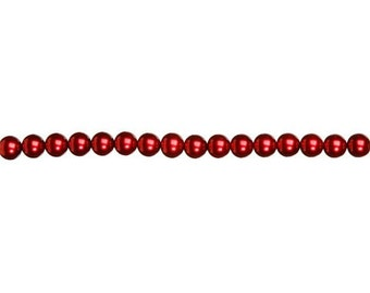 4mm Red Glass Pearl Beads (2 Strands)