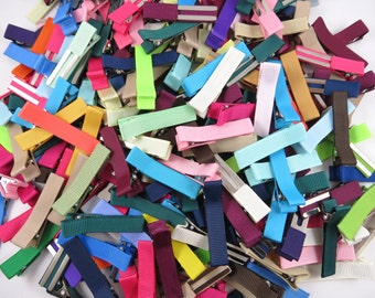 Random Mix of 12 Solid Colored Alligator Clips - Lined Alligator Clips - Grab Bag - Ribbon Lined Clips - Partially Lined Alligator Clips