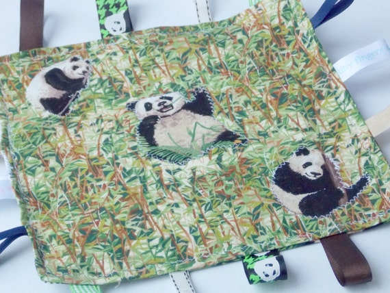 Panda Crinkle Tag Blanket, Security Blanket, Baby Shower Gift