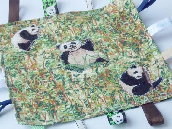 Panda Crinkle Tag Blanket, Security Blanket, Baby Shower Gift