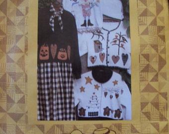 Folkart Jacket ...Primitive Pattern... by Kindred Spirits...1992 Prim Jacket Pattern....??Out of Print??..New...Never Used...