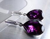 Purple Earrings Amethyst Earrings Crystal Swarovski Wedding Earrings Bridesmaids Gift Wedding Purple Jewelry Amethyst crystal