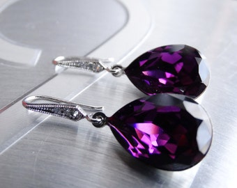 Purple Earrings Amethyst Earrings Crystal Swarovski Wedding Earrings Bridesmaids Gift Wedding Purple Jewelry Amethyst crystal