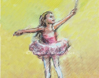 Ballet, Ballerina, dancer, Nursery Art, Girls Print, original, Children, pink, yellow Laurie Shanholtzer