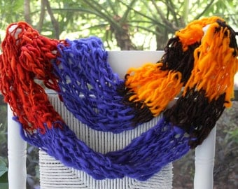 Hand Knit Infinity Scarf, in Bold Blue, Orange, multi color, made of Bulky Hand Spun Hand Dyed Yarn