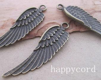 14pcs antique Bronze wing pendant Charms 14mmx50mm