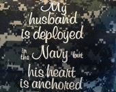 """US Navy, navy wife, husband deployed 13"""" x 13"""" pillow made from NWU US Navy digital camo fabric."""