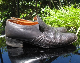1970s 1980s steely blue  weave leather 'Sorelli'  mens shoes ~ Sz 7.5