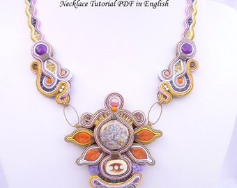 TUTORIAL ONLY Flower of Paradise Soutache Necklace Tutorial Pattern in English PDF Instant Download