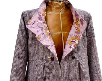 Winter Swing Coat in Corduroy Wool or Tweed with Optional Hood Fully Lined Jacket for Warm Outerwear