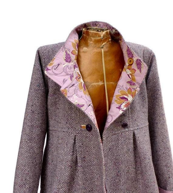Winter Swing Coat in Corduroy Wool or Tweed with Optional Hood