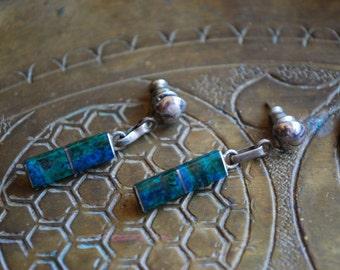 Vintage DANGLE EARRINGS - 1950s Sterling Silver Malachite Earrings