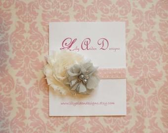 Pink and white polka dot headband/ Newborn headband/ Baby girlheadband