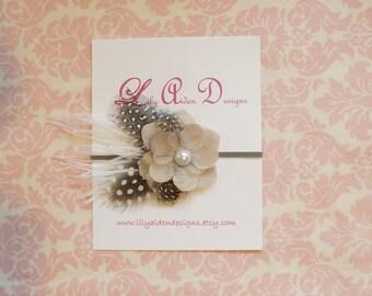 Linen flower headband with feathers/ newborn headband/ Baby headband/ Girls headband