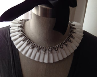 White Pleated Collar Necklace with Adjustable Bow Front and Rhinetonse Embelishment