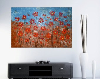 "Original abstract Painting Palette knife Acrylic Painting Flower Painting Modern Art Handmade by Carola, 36"" x 24"""
