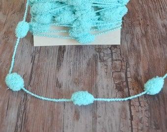 Pompom Garland Turquoise Glitter String Yarn Trim 6 Yards Baby Bunting