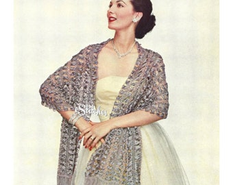 1950s Hairpin Lace Stole or Shawl - Hair Pin Lace pattern PDF 1301