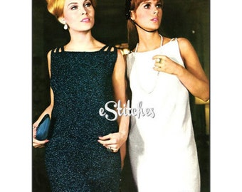 1960s Sheath Dress or Top and Skirt Evening-  3 Knit patterns PDF 9952