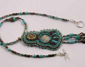 buffalo nickle button, embroidered, jasper stone, turquoise necklace