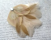 JOLIE Ivory and Beige Peacock Feather and Crystal Veil Hair Clip, Feather Fascinator, Bridal Hair Piece