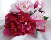 Blush Pink, Hot Pink and Fuchsia Peacock Feather Bouquet With Pink Peonies, Bridal Bouquet, Bridesmaid Bouquet