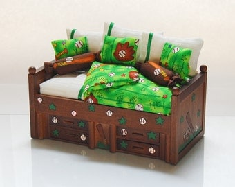 BASEBALL Dollhouse Boy's Twin Bed Hand Painted Custom Dressed 1:12 Scale Miniature