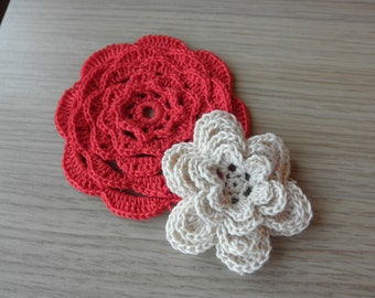 Flowers crocheted-cotton flowers-set applique-supplies-set of two