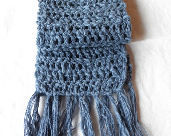 Baby blue scarf,toddler scarf,boucle cotton yarn with fringe,hand crocheted