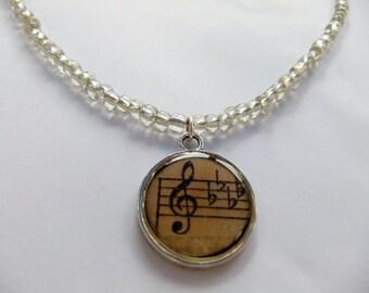 Music Necklace, Treble Clef, Silver