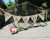 CARDS Burlap Banner - Small Basket Banner - Small Wedding Bunting - CARDS Black Mini Burlap Banner