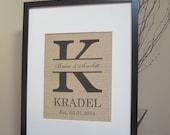 "Personalized Burlap Wedding Gift - Print 8"" x 10"" - Monogram, Name, Est. Date - Engagement, Shower, Wedding, Cotton Anniversary Gift"