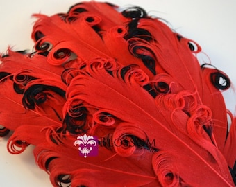 1 Curly Nagorie Feather Pads - Goose Feather Pad - Red & Black - DIY headband hair clip hat - wedding supplies - newborn photo prop baby