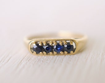 1980's vintage / Sapphire 9k yellow gold stacking ring / engagement ring/ september // LITTLE DROPS