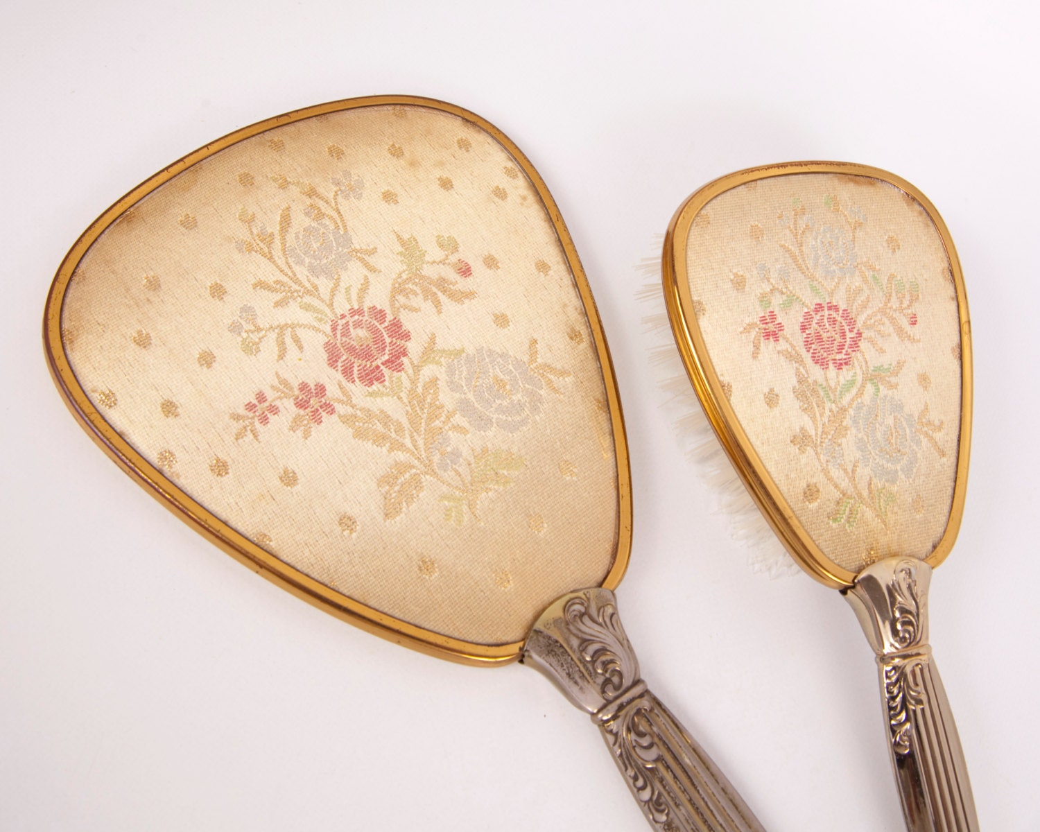 vintage mirror and brush vanity set embroidered floral 87983