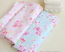Aqua Blue Fabric Pink Flower Fabric,Shabby Chic Flower Fabric,Aqua Polka Dots Cotton,Pink Floral Cotton Fabric 1/2 Yard(QT220)