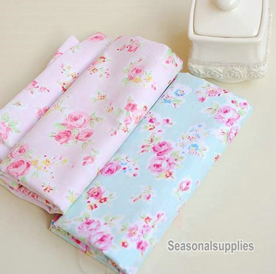 aqua blue fabric pink flower fabricshabby chic flower. Black Bedroom Furniture Sets. Home Design Ideas