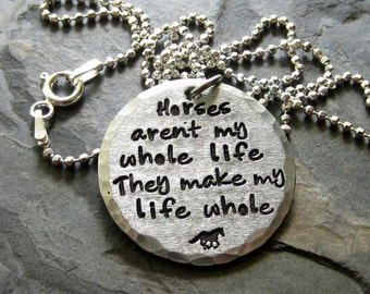 Sterling Silver Hand Stamped Horse Necklace-Equestrian-Horse Lover.