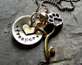 Personalized Hand Stamped Dog Lover Necklace-Sterling Silver Dog Necklace-Brass Key charm