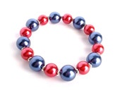 Team Colors Chunky Red and Blue KU Jayhawks, SMU Stretch Bracelet