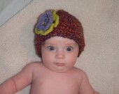 Multi-Colored Beanie with Flower Clip